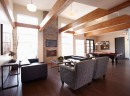 Community pavilion with lounge, fireplace, flat screen TV, kitchen and pool table