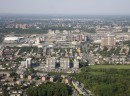 Aerial view of Le Logix Condos in the Laval-des-Rapides area