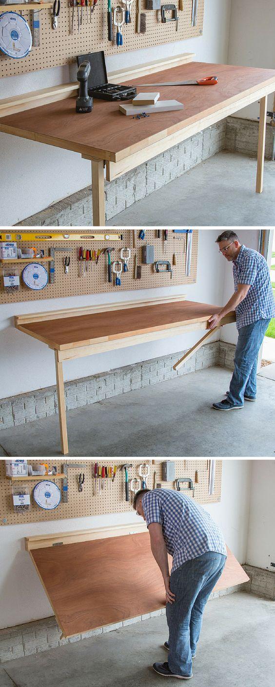 Rangement DIY Garage Drop Down Work Bench