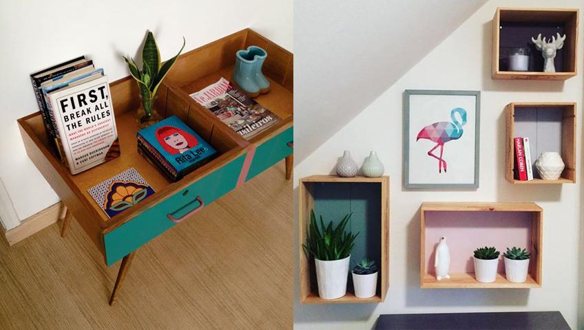 Déco DIY meuble, caisses et cadre
